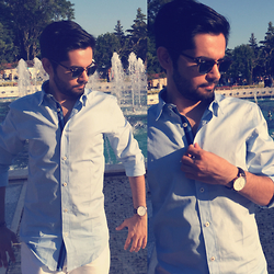 Masud Ahmadi - Ray Ban Sunnies, Daniel Wellington Watch, Zara Sky Blue Shirts, Zara White Jeans - Enjoying Summer 2015!