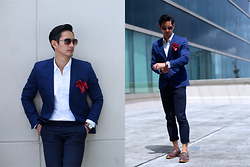 The Filo Dapper - H&M Blazer, Thrift Shop Button Down Shirt, Aldo Sunglasses, Dressmen Pocket Square, Zara Pants, Pedro Loafer, Aldo Watch - Press Conference