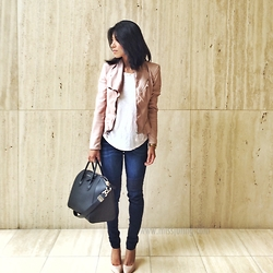 Juting T - Blank Nyc Pink Leather Jacket, H&M White Tee Shirt, Flying Monkey Moto Skinny Denim, Brash Nude Pumps, Givenchy Black Antigona Medium - Tickled Pink