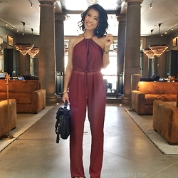 Juting T - Forever 21 Brown Jumpsuit, Proenza Schouler Black Bag - Brown jumpsuit
