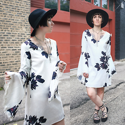 Jessie Bee - Diy Lace Up Flats, Urban Outfitters Felt Hat, Shein Floral Dress - Bell Sleeves