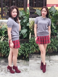 Carol Celespara - Kashieca Studded Collar Knitted Top, Forever 21 Plaid Skorts, Suki Ankle Boots - Preppy