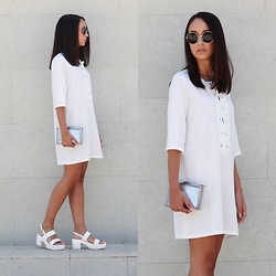Esther L. - Tfnc London Carly White Dress, Missguided Chunky Sandals, Primark Clear Clutch, H&M Maxi Sunglasses - PURE WHITE