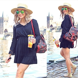 Ana Maria Oprea - H&M Boho, Louis Vuitton Backpack, Prima Gladiator, H&M Stroh, Ray Ban Aviator - Charles Bridge,baby ///anamariaoprea.com