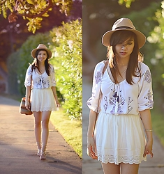 Tania H - Aeropostale White Lace Skirt, Style Moi Embroidered Tunic Blouse - Sweet summer