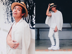 Ronwell Lim - H&M Straw Hat, H&M Shirt, H&M Chino, Bershka Retro Sports Shoes, Giordano Blazer - ILUSTRADO