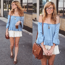 Steffy Degreff - Off The Shoulder Blouse, Lace Shorts, Satchel - SUMMERTIME