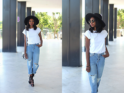 Stephanie C - Asos Ripped Jean, Heels - WHITE TEE & DENIM