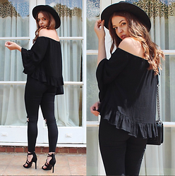 Layla Panam - The Kooples Buckle Hat, Zara Off The Shoulder Blouse, Asos Ripped High Waisted Jeans, Zara Strappy Heels, Chanel Boy Bag - COCHELLA CHIC
