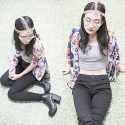 Ren Rong - Irresistible Me Jade Hair Chain, Dresslink Floral Kimono Cardigan, Dresslink Grey Tank Crop Top, Uniqlo Ultra Stretch Jeans, Rubi Platform Boots - Bohemian Luxe