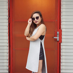 Joanknee C. - Forever 21 High Slit Tank Dress, Sun Glass Spot Vintage Frame Glasses - Blow a Kiss, Fire a Gun