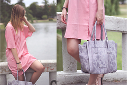 Sarah F - Asos Shirtdress, Bag - The pink shirtdress