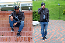 The Filo Dapper - All Saints Leather Jacket, New Era Raiders Baseball Cap, Walmart T Shirt, Cotton On Jogger Pants, Puma Sneakers - Tri Leather