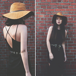 Ally Buu - Zara Fedora, Zara Dress, Mango Belt - Open back dress