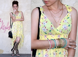 Marija M. - E Bay Layered Necklaces, Republic High Low Floral Dress, E Bay Black Gladiators - High and low