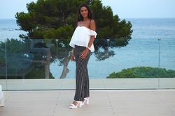 Elvira Vedelago - Bardot Gypsy Top, Miss Selfridge Striped Wide Leg Trousers, Asos Chunky Sandals - ME Ibiza Dinner Outfit
