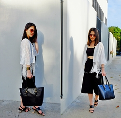 Zaira Chan - Forever 21 Fringe Kimono, Get Spotted Bralette, Details Culottes, Abby Jocson Leather Tote, Charles And Keith Sandals - Summer Casuals