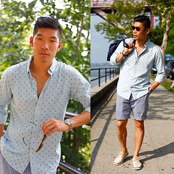 Leo Chan - Dockers Long Sleeve Chambray Shirt, Dockers Perfect Flat Front Shorts, Timberland Hookset Sneakers, Skagen Ancher Watch, Toms Sunglasses, H&M Leather Weekender - JCP Summer Style