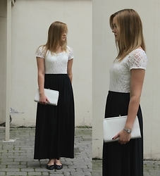 Anna Victoria - Things I Like Love Maxi Skirt, Wallis Lace Top, Jane Shilton Bag, Geox Flats - Black skirt and white lace