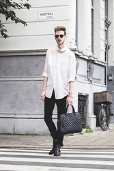 Martin Bonke - Ray Ban Clubmaster, Asos Sheer Fabric Shirt, Sacha Shoes Quilted Laptop Bag, H&M Twill Pants - Sheer Fabric.