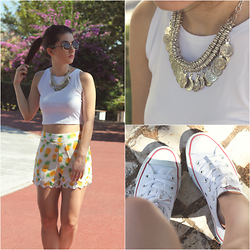 Adriana R. - Happiness Boutique Silver Toned Ancient Coins Statement Necklace, White Crop Top, Pineapple Shorts, Sunglasses, Converse All Star - PINEAPPLES + HAPPINESS BTQ