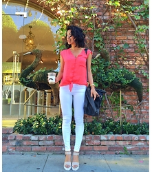 Juting T - Zara Coral Button Down Blouse, Frame Denim White Skinny Jeans, Forever 21 Platform Sandal, Marc By Jacobs Black Hobo Bag, Michael Kors Gold Watch - Summer brights
