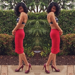 Juting T - Forever 21 Red Pencil Skirt, Stuart Weitzman Red Peep Toe Pumps, Hot Coles Star Bikini Top - Red, white & blue