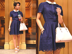 Julie Đặng - Jack Wills Harwich S/S Pintuck Dress, Kate Spade Cedar Street Maise, Kate Spade In The Shade Bangle, Kate Spade Tiny Metro, Steve Madden Nevrstp Wedges - An Eye for an Eyelet