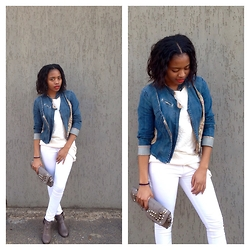 Gontse Mathabathe - Cotton On Cut Out Booties, Spiked Clutch, Woolworths White Skiny Jean, Thrift Store Multi Layered Jean Jacket - +Grey Winter+