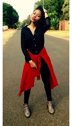 Gontse Mathabathe - Mr. Price Extra Long Silk Shirt, Red Cardigan, Cotton On Cut Out Booties - +Cool Kid+