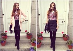 Helen D* - Glamorous Floral Top, Republic Leather Skirt, Sheinside Pink Coat - Petite Pink