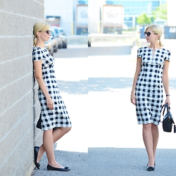 Tatiana M - Asos Dress, Kate Spade Bag, Kate Spade Shades, J. Crew Flats - Pencil Check Dress