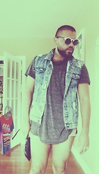 Luke Peralez - Pacsun Sunnies, Feather Long Basic T, Cotton On Denim Vest, Bdg Shortshorts, Forever 21 Clutch, Mbmj Graphic T - Home4theSUMMER