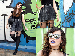 Joyce Nunes - C&A Acid Wash Flare Skirt, Leg Avenue Crucifix Suspender Tights, Antix Princess Neckline Shirt, Chilli Beans Swarovski Crystalized Sunglasses, Renner Leather Backpack - Crucify Me