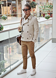 Edgar - Primark Trench Peacoat, H&M Chinos, H&M Platform Sneakers, River Island Leather Satchel, Primark Shirt, Primark Sunglasses - CAMEL TONES