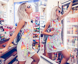Mikuta - Asos Dress, Zerouv Sunglasses, Young Hungry Free Bag - SHINY SEQUIN ICE-CREAM