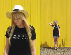 Ingrid O - Stradivarius 'Black Is My Happy Colour' Tee, Subdued Hat, H&M Striped Pencil Skirt, Bata Sandals - BLACK IS MY HAPPY COLOUR