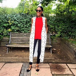 Zodie M - Primark Long Waistcoat, Primark Red Top, Primark Black Jeans, Newlook Mary Janes - STYLIST MAGAZINE COMPETITION