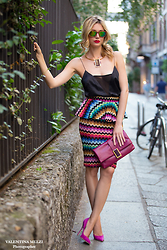 Elena Barolo - Sunboo Sunnies, Asos Top, Briconcela Skirt, Arte Facta Clutch, Cerasella Milano Stiletto, Arte Facta Necklace - Rainbow