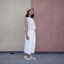 Carolyn C - Aritzia Straw Hat, Forever 21 Tank Top Sleeveless, Forever 21 Mirrored Sunglasses, Zara Culottes - @cnylorac