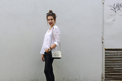 Alicja Szczepanska - Zara White Shirt, New Yorker Black Pants, H&M Leather Bag, Topshop Black Sunglasses, Parfois Leather Watch - B&W