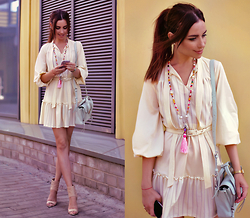 Perventina Ols - Vintage Dress, 3.1 Phillip Lim Bag, Steve Madden Heels, Diy Necklace - The beige