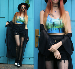Liza LaBoheme - Aurora Print Crop Top, Distressed High Waist Shorts, H&M See Through Kimono, Vagabond Platforms With Iridescent Toecaps - Song of the sky