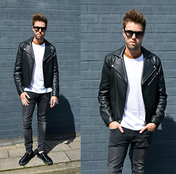 Jordi - Acne Studios Gibson Leather Jacket, Cos T Shirt, H&M Jeans, Topman Shoes - Black and White