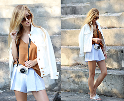 Sirma Markova - H&M Jacket, Choies Striped Shorts, Olympus Pen Camra, M&S Sliders, Shein Sunglasses - SUNLIT