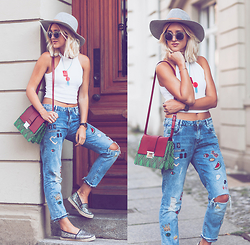 Mikuta - Zara Jeans, Bimba Y Lola Bag, H&M Hat, Zara Top, Asos Shoes, Tagstories Necklace, Zerouv Sunglasses - Casual with patches