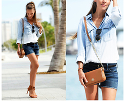 Zaichkina Lusia - Rails Shirt, Citizens Of Humanity Shorts, Tory Burch Bag, Schutz Shoes - Breezy denim!