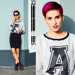 Adriana Seminario - Freedom Sportswear Sweater, Velle Rlt Black Pencil Skirt, H&M Burgundy Combat Boots - A is for Androgyny