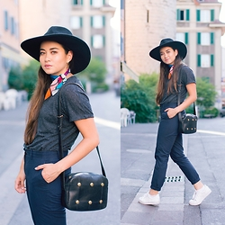Romina Ch - Givenchy Vintage, H&M H£M Oversized Hat, Zara Ter, Gant Pants, Adidas Sneakers - Trendiness Old-Fashioned
