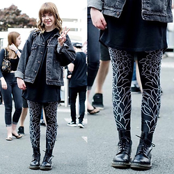 Natasha Hide - Black Sabbath Collection Drop Dead Clothing Leggings, Vintage Levis Jacket, Dr Martens - Black sabbath